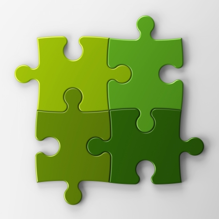isolated four puzzle pieces with clipping path Stock Photo