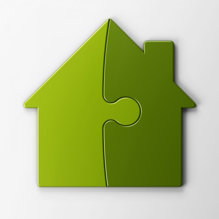 isolated puzzle of a house with clipping path 스톡 콘텐츠