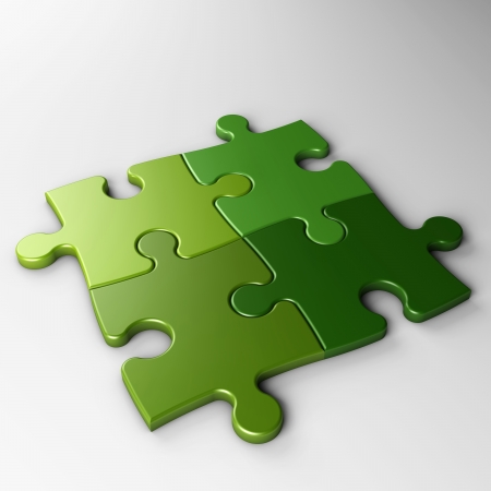 isolated four puzzle pieces with clipping path 스톡 콘텐츠