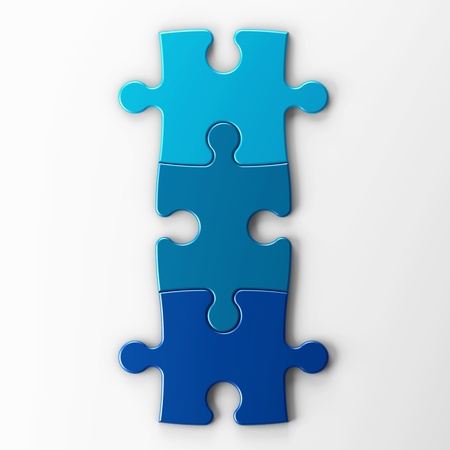isolated three puzzle pieces with clipping path Stock Photo