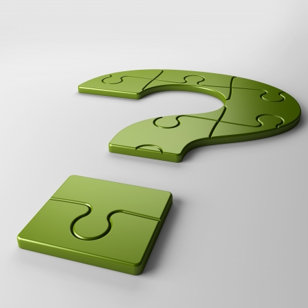 cogitate: isolated question mark puzzle with clipping path