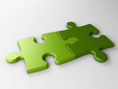 two: isolated two puzzle pieces with clipping path