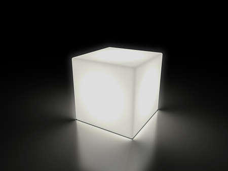 luminous cube with clipping path