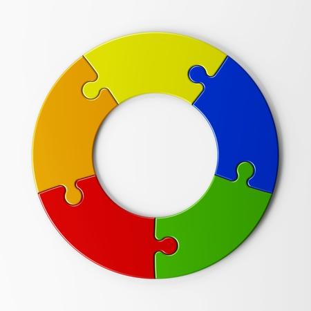 diagrama circular: piezas aisladas del rompecabezas para colocar conceptos con trazado de recorte Foto de archivo