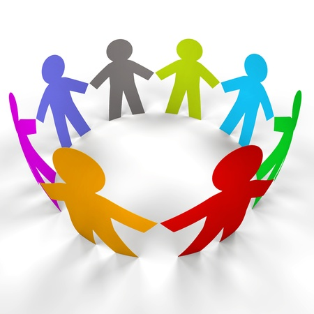 group chain: color circle paper people with clipping path
