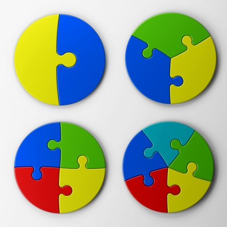 puzzle pieces with clipping path
