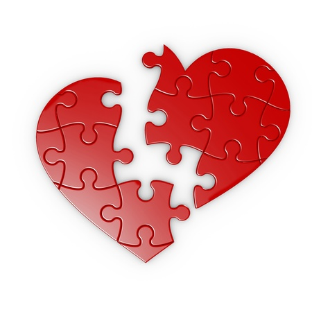 isolated puzzle of a broken heart with clipping path Stock Photo