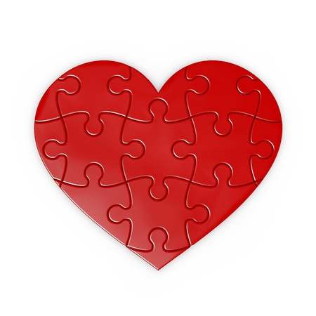 isolated puzzle of a heart with clipping path 스톡 콘텐츠