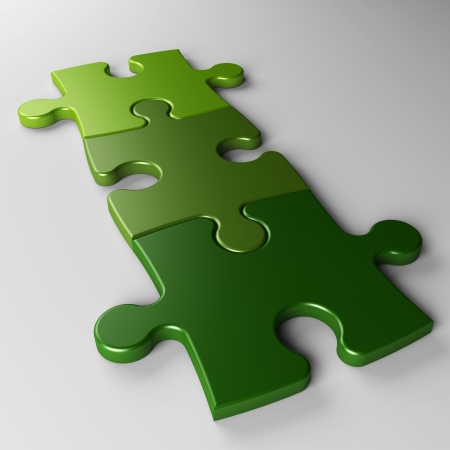 isolated three puzzle pieces to place concepts with clipping path photo