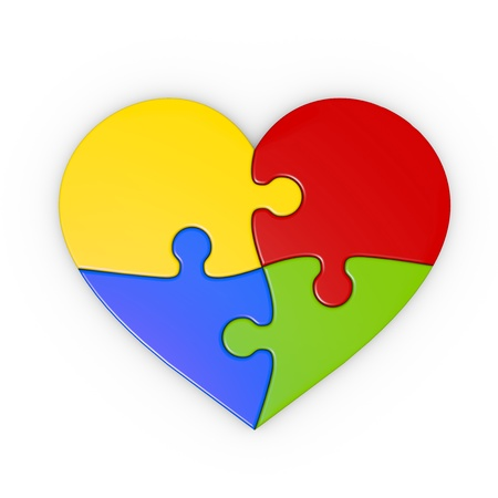 isolated puzzle of a heart with clipping path photo
