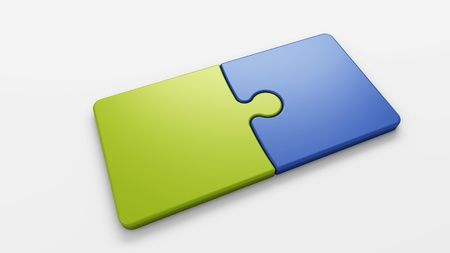 two pieces: isolated puzzle pieces to place concepts with clipping path