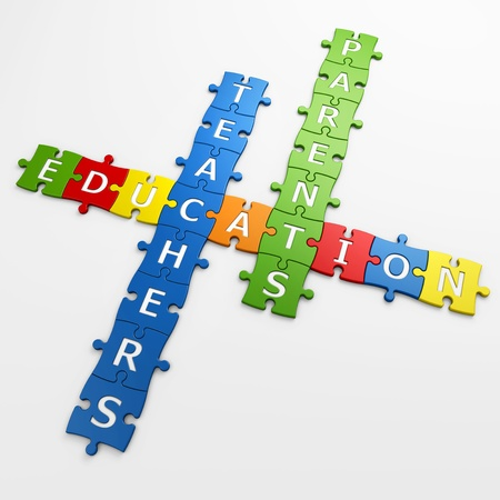 isolated crossword education with clipping path