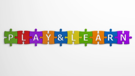isolated text play   learn with clipping path Stock Photo - 19087423