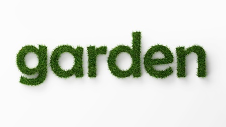garden path: isolated word garden with clipping path Stock Photo