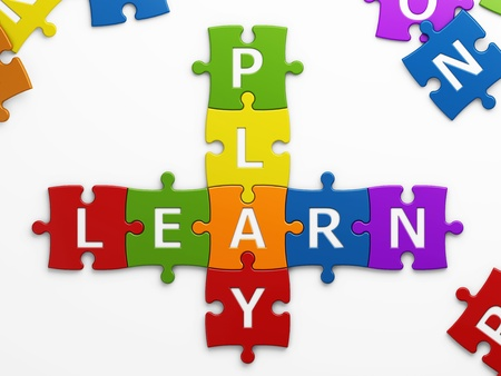 teaching children: isolated text play learn with clipping path Stock Photo