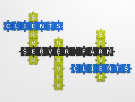 definition: isolated definition server farm with clipping path