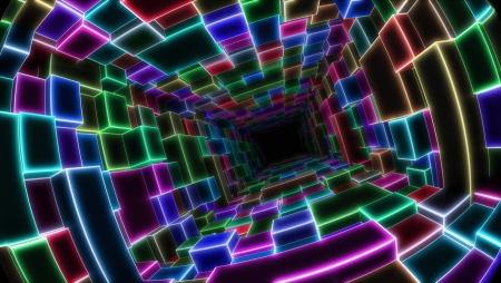 colorful electric tunnel Stock Photo