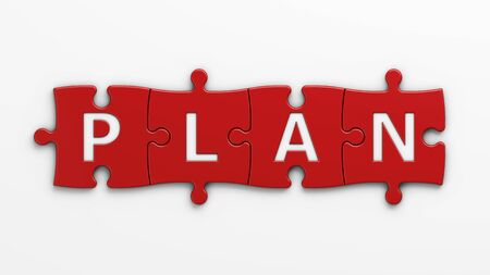 isolated word plan with clipping path Stock Photo