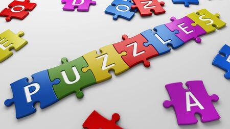 isolated word puzzles with clipping path photo