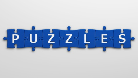 brainteaser: isolated word puzzles  Stock Photo