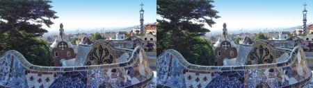 stereoscope: Barcelona, Spain - september 23  stereoscopic photography   side-by-side   of the famous Park Guell on september 23, 2013 in Barcelona, Spain  Park Guell is designed by Antoni Gaudi