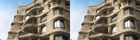 stereoscope: Barcelona, Spain - september 27  stereoscopic photography   side-by-side   of the famous La Pedrera on september 27, 2013 in Barcelona, Spain  La Pedrera is designed by Antoni Gaudi