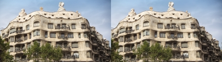 Barcelona, Spain - september 27  stereoscopic photography   side-by-side   of the famous La Pedrera on september 27, 2013 in Barcelona, Spain  La Pedrera is designed by Antoni Gaudi