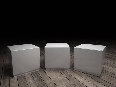 white pedestals to place product. With clipping path photo