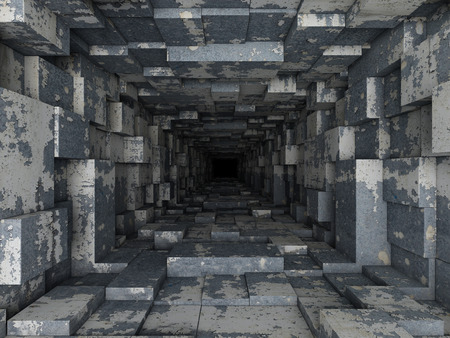 profundity: dark tunnel Stock Photo