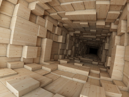 profundity: Wooden construction Stock Photo
