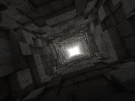 profundity: deep tunnel with light at the end