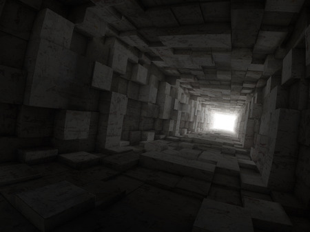 deepness: deep tunnel with light at the end