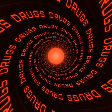 spiral formed with the word drugs that is repeated and glow at the end Stock Photo