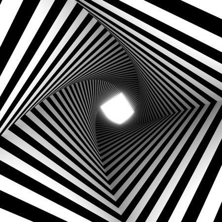 twisted striped tunnel with light at the end Stock Photo