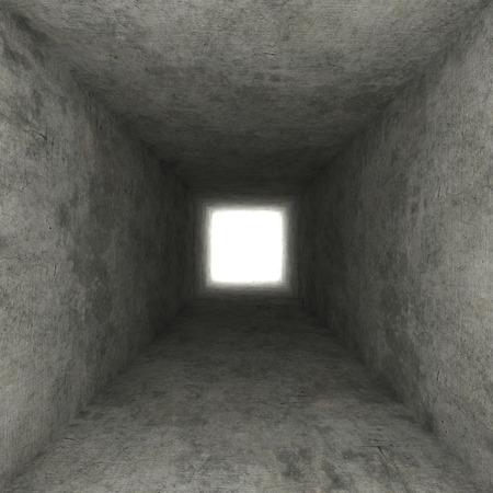 claustrophobia: square concrete hole Stock Photo