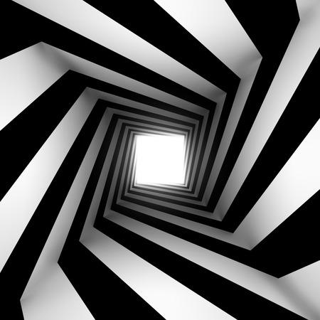 arte optico: espiral cuadrada blanco y negro Foto de archivo