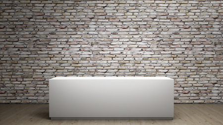 brick background: interior with pedestal to place your product Stock Photo