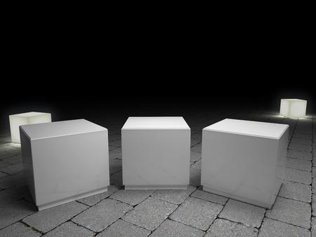 exposici�n: la exposici�n de tres productos