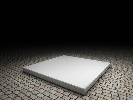 cobblestone: platform with cobblestone background Stock Photo