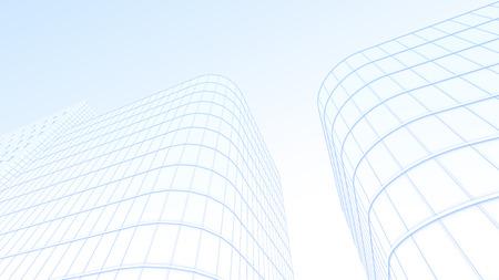 vanishing point: illustration of office building Stock Photo