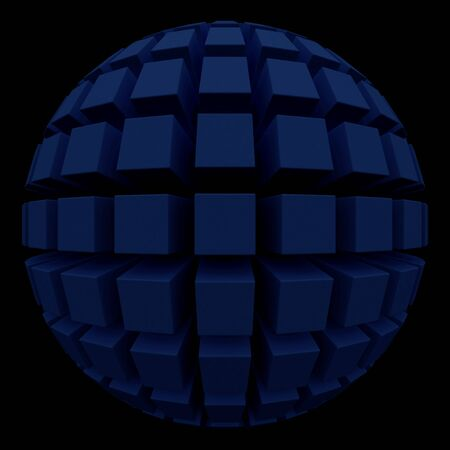 poke: dark sphere with square faces