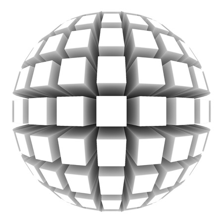 extruded: white sphere with square faces Stock Photo