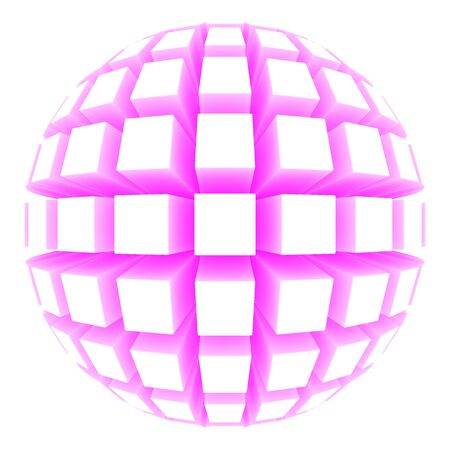 poke: illustration of a sphere with square faces Stock Photo