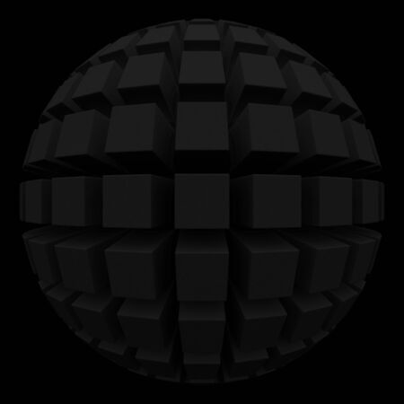 poke: black sphere with square faces
