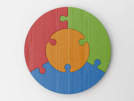 colored puzzle pieces Archivio Fotografico