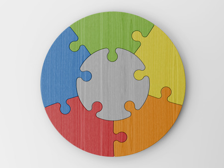 jigsaw puzzle pieces: colored puzzle pieces Stock Photo