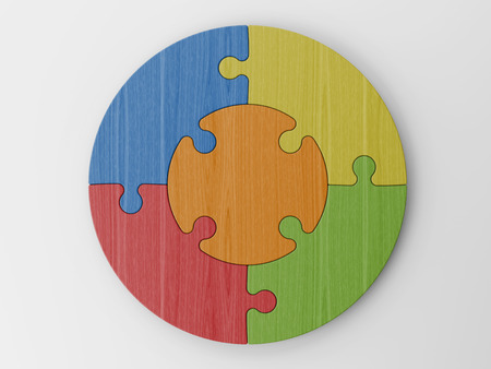 colored puzzle pieces Stock Photo