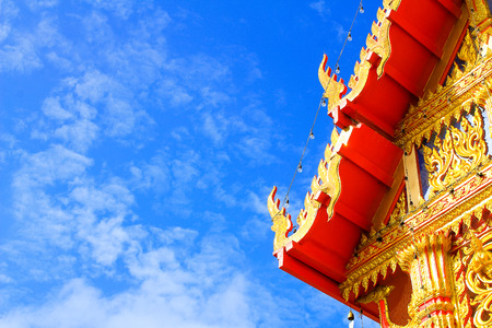 buddhist temple roof: Church roof Buddhist temple with blue sky in Thailand