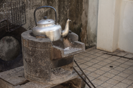 boiling: old kettle for boiling water on stove