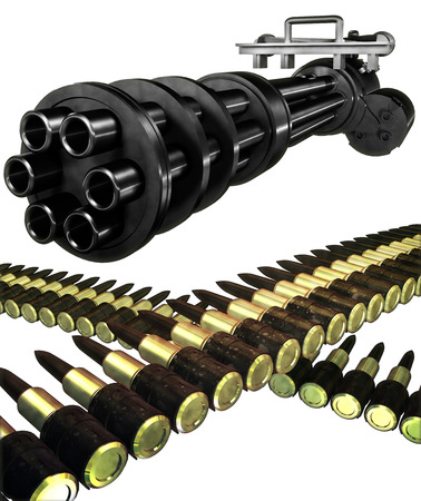 Gatling gun set Stock Photo